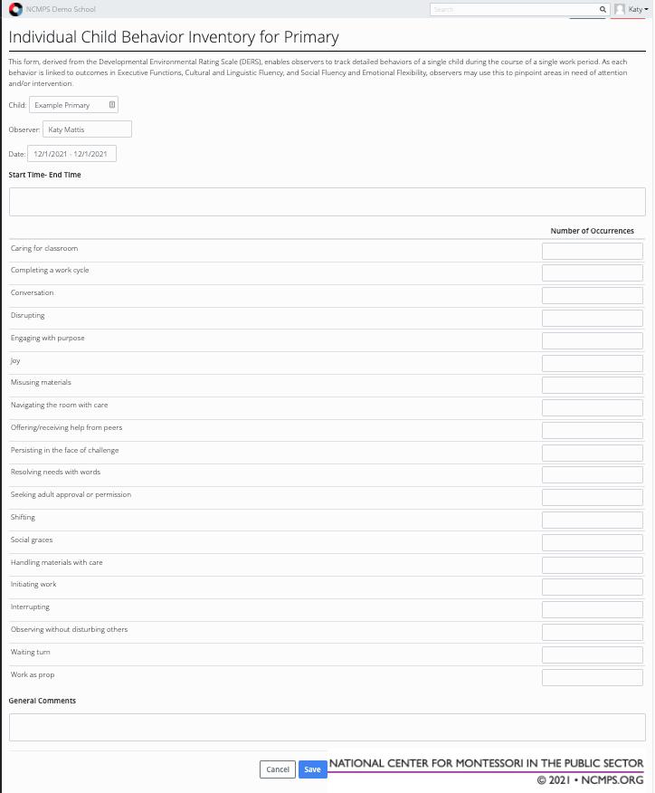 Transparent Classroom+—Data Entry
