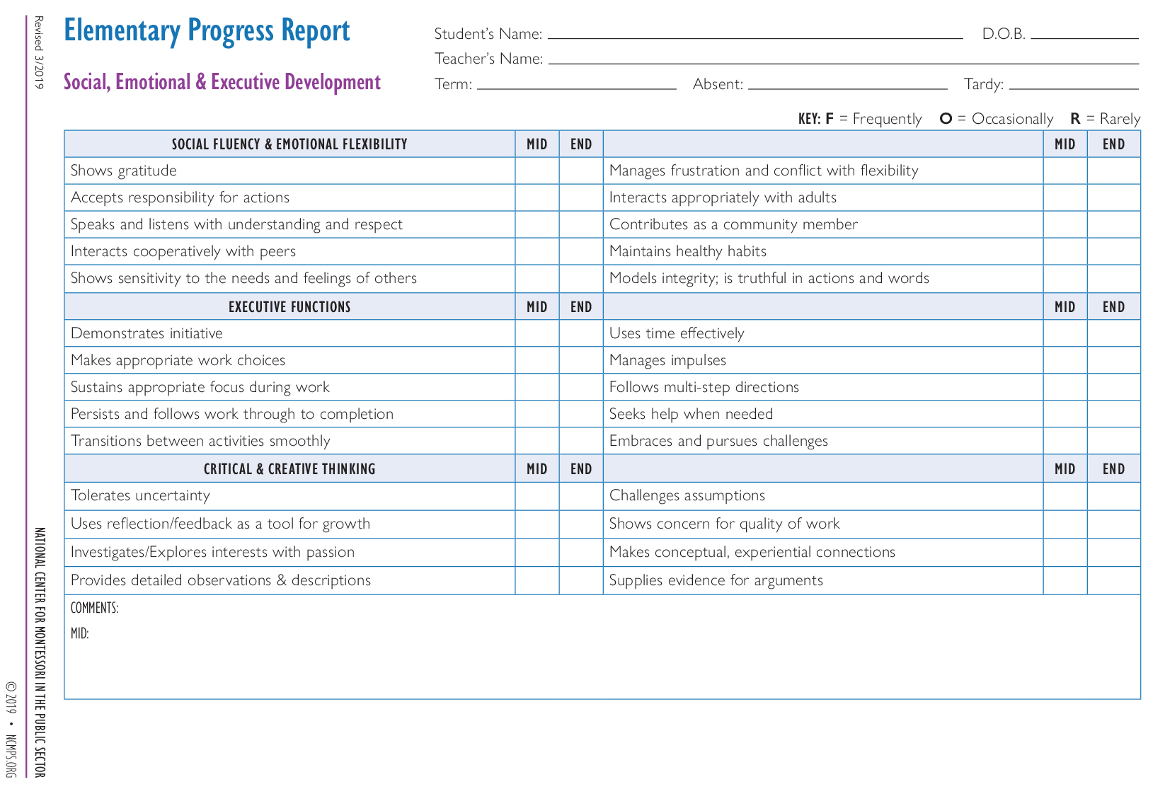 Elementary Progress Report