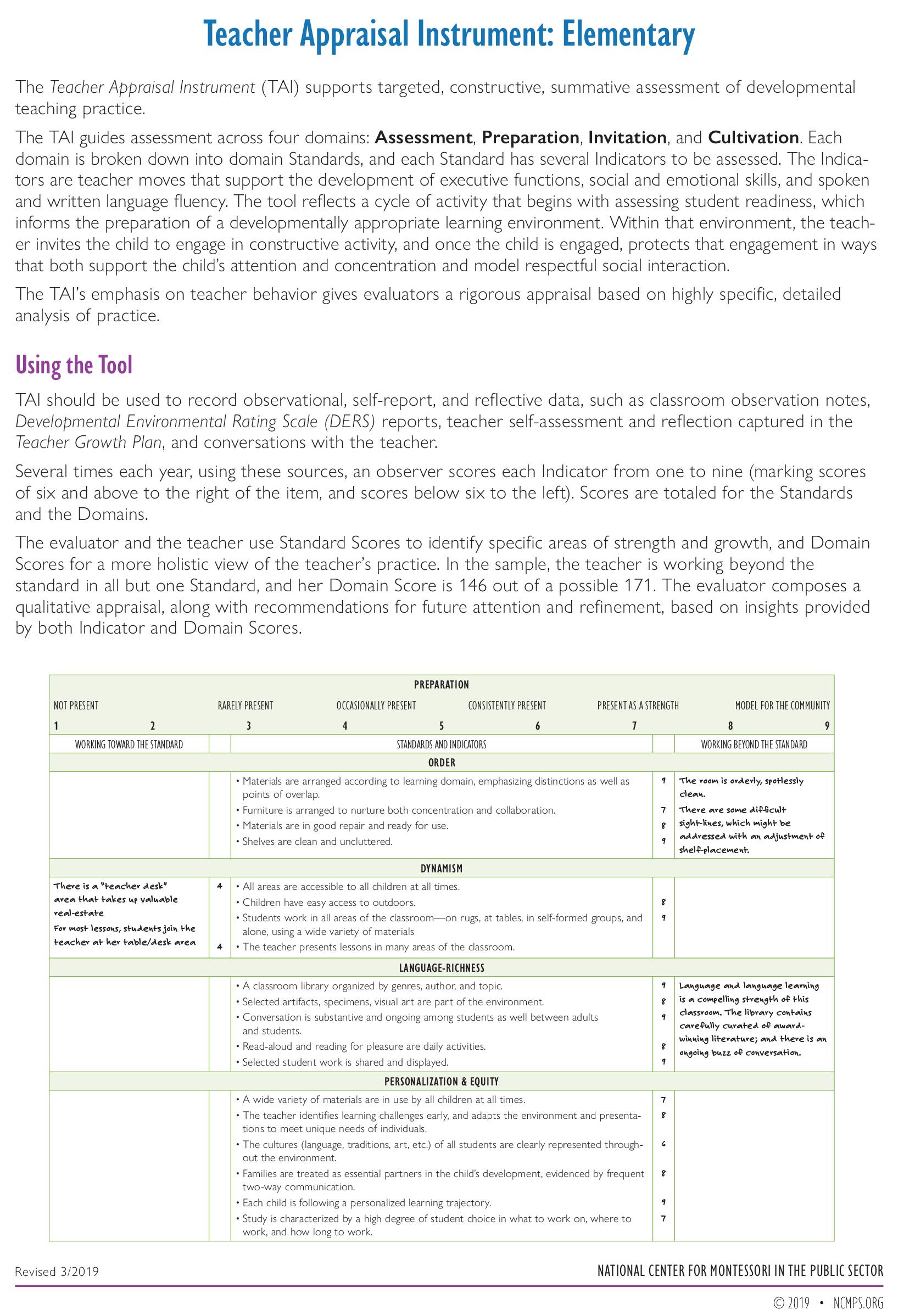 Teacher Appraisal Instrument—Elementary